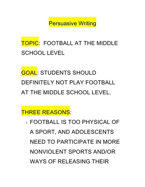 Sports Related Persuasive Essay Topics by Persuasive Writing Outline
