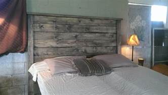 weathered gray rustic wood headboard weathered