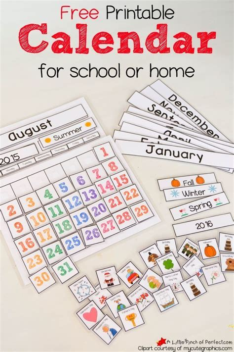 printable calendar pieces free printable preschool calendar numbers 1000 images