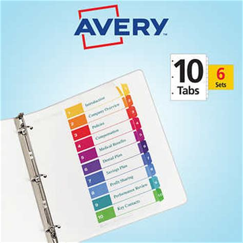 avery ready index table of contents dividers 10 tab 6 set