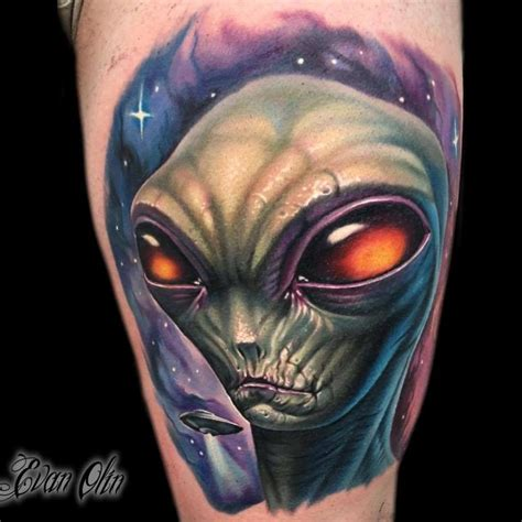 new school realism tattoo full color alien and space tattoo by evan olin tattoos