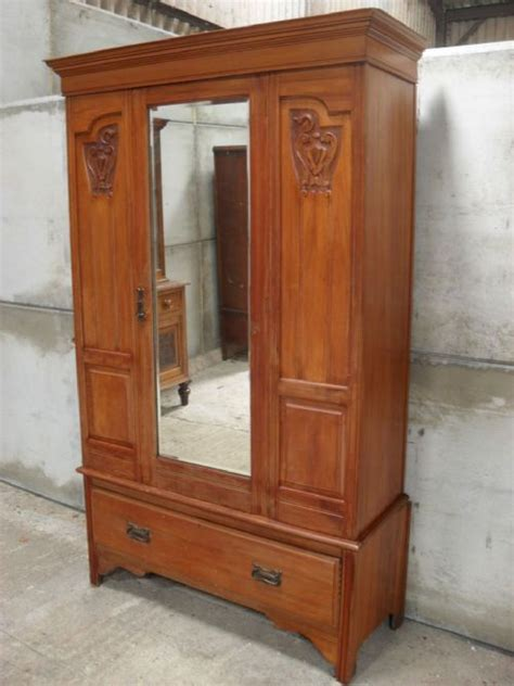 antique armoire with mirror and drawers victorian edwardian satin walnut bevel mirror drawer