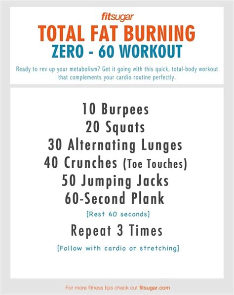 zero to 60 burning workout workouts torches