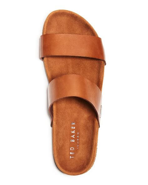 Two Slide Sandals Brown lyst ted baker magnuss leather two slide sandals