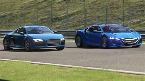 Nsx Vs R8 by Battle Honda Nsx 15 Vs Audi R8 V10 Plus Racing At Spa