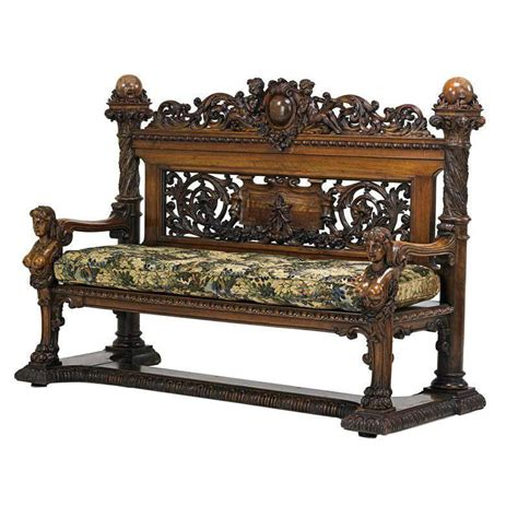 antique benches and settees huge and incredibly carved walnut hall bench or settee