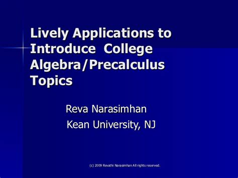 Lively Applications In Precalculus