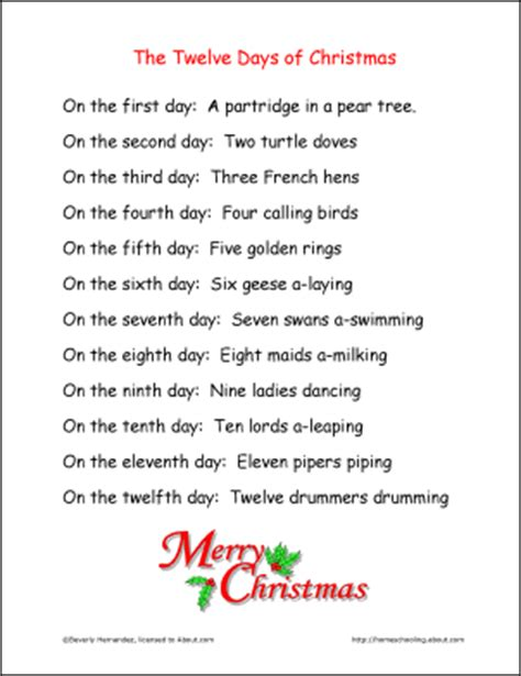 printable lyrics to 12 days of christmas we study english language merry christmas