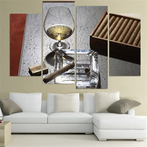 home decor express canvas painting 4 piece canvas art cigar whiskey wine