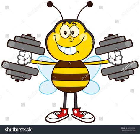 Bee Traning smiling bee mascot character with