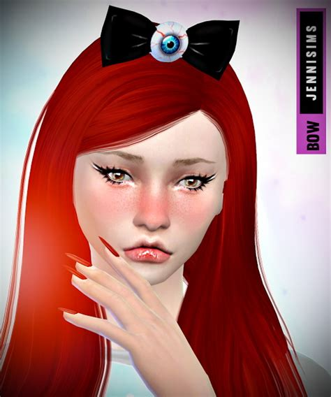jenni sims new mesh accessory sets bow heart breaker hat koala earrings bow set at jenni sims 187 sims 4 updates