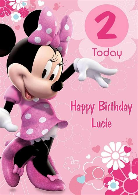 pageplus minimouse greeting card template personalised minnie mouse birthday card pink