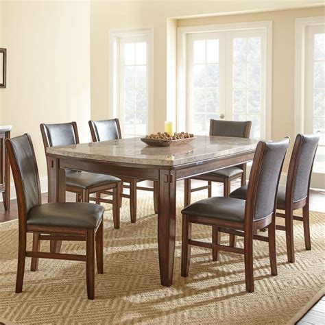 Silver Dining Table And Chairs Steve Silver Eileen 7 Marble Topped Dining Table With Upholstered Side Chair Set Olinde
