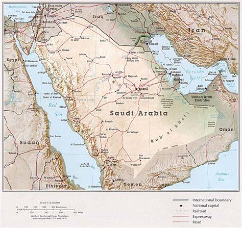 arabia map detailed relief and road map of saudi arabia saudi arabia