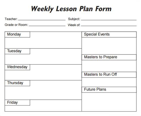 search results for free printable lesson plan template