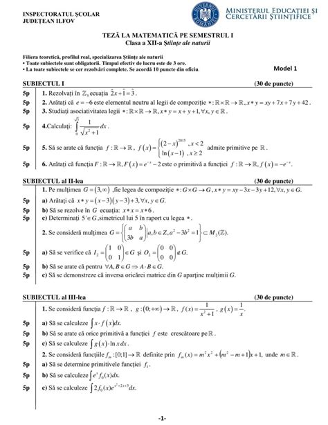 modele teza matematica clasa     stiinte semestrul  rezolvari bareme