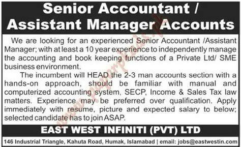 senior accountant assistant manager accounts jobs the