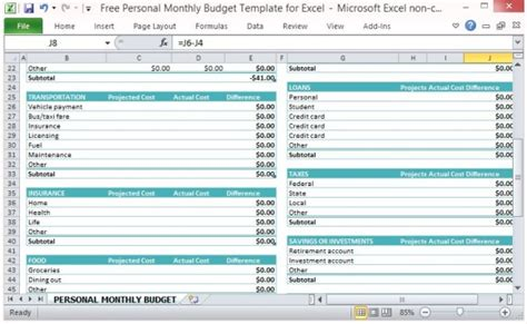 Free Personal Monthly Budget Template For Excel Projected Expenses Template