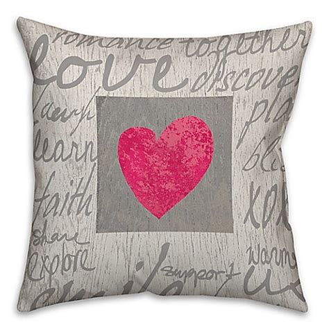 throw pillows with words buy love words 18 inch square throw pillow in grey from