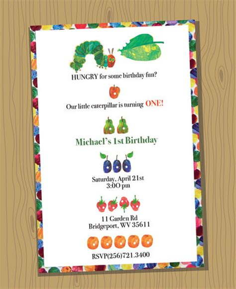 Very Hungry Caterpillar Birthday Invitations Dolanpedia Invitations Ideas Hungry Caterpillar Birthday Invitation Template