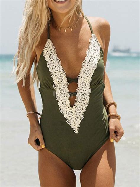 Lace V Neck Swimsuit one swimsuit lace v neck hater pink bathng