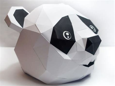 paper craft panda panda mask papercraft free template http