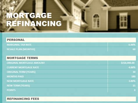 mortgage statement template excel mortgage refinancing statement microsoft excel templates