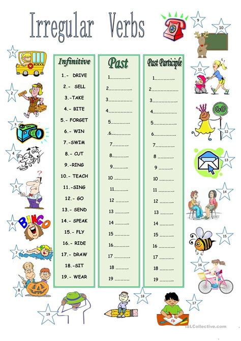 printable pictures verbs irregular verbs worksheet free esl printable worksheets
