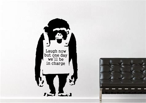 banksy wall stickers uk laugh now monkey banksy wall stickers adhesive wall sticker