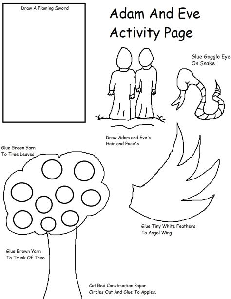 preschool coloring page adam and eve bible creation on pinterest days of creation bible