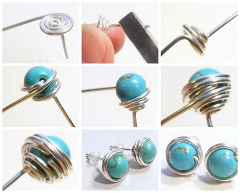 Bead Stud Earring free diy how to wire wrapped bead stud earrings see step