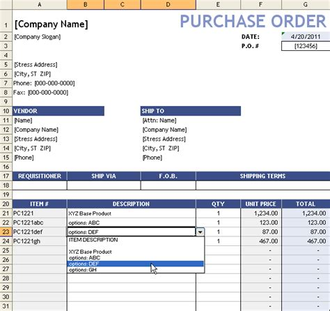 po excel template purchase order template