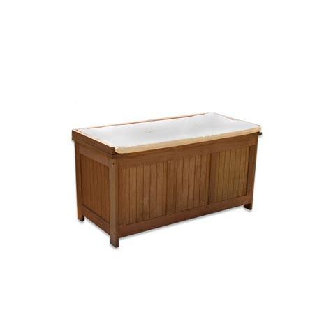Banc Coffre De Rangement Exterieur banc coffre de rangement jardin ext 233 rieur en bois avec coussin