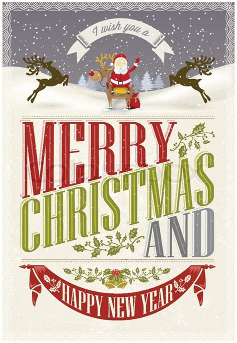 merry christmas  happy  year vintage christmas background  typography