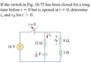 suppose the switch is closed for a time how much energy is stored in the inductor if the switch in fig 16 75 has been closed for a chegg