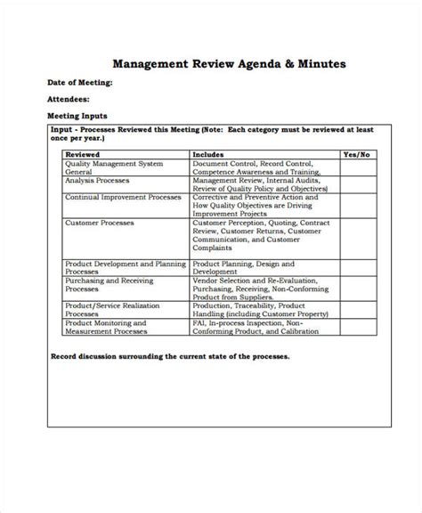 management review template review agenda templates 10 free word pdf doc format