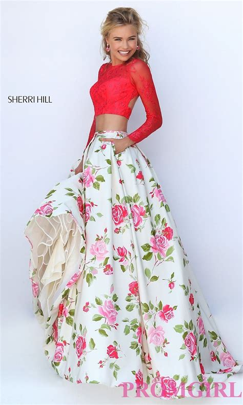 Set Flowery Dress image of floor length sleeve two floral print