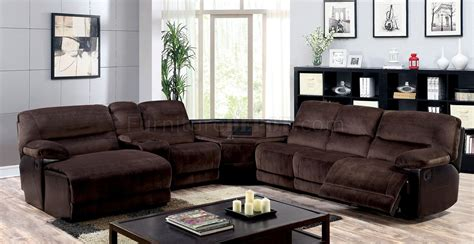 brown reclining sectional sofa glasgow reclining sectional sofa cm6822 in brown microfiber
