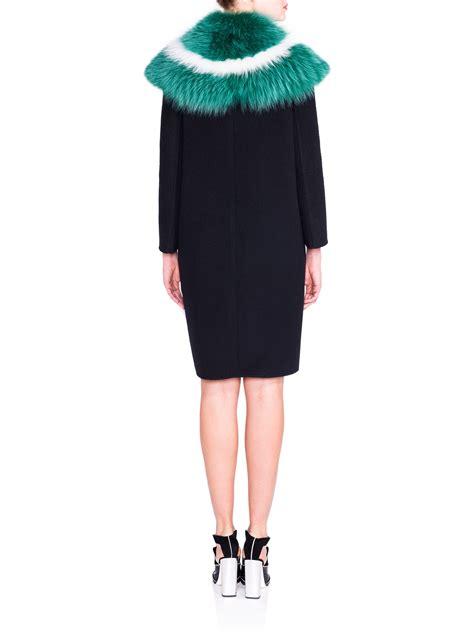color block wool coat lyst fendi fur collar colorblock wool coat in black