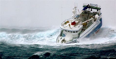 fishing ship in storm riding out storms in a seavax bubble hull with automatic
