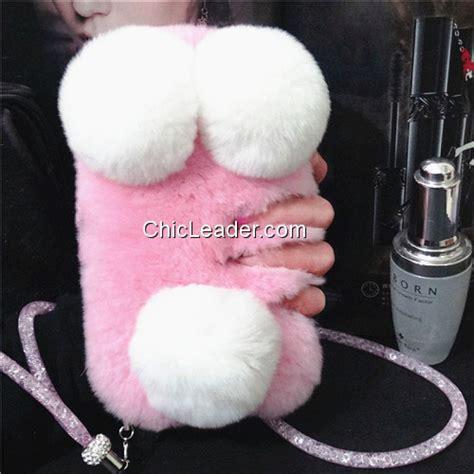 kawaii panda fluffy soft rabbit fur case  iphone