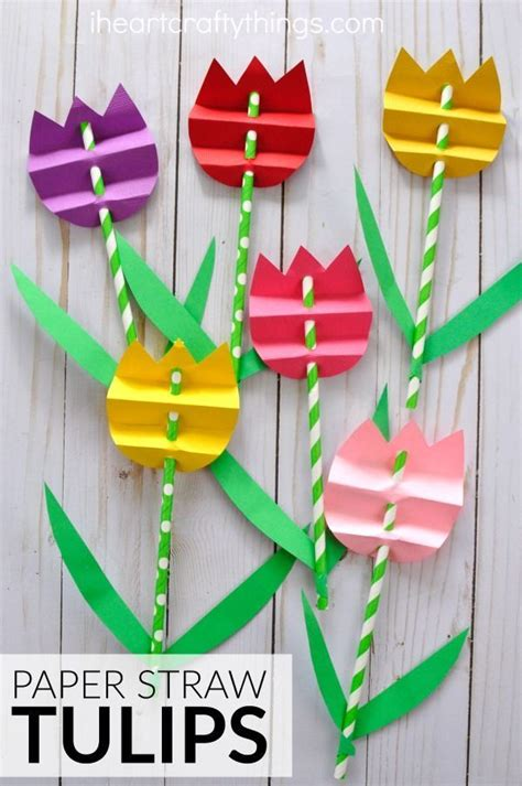 Paper Craft Ideas For Free - pretty paper straw tulip craft paper straws tulip and