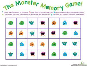 printable board games for 4 year olds monster memory game worksheet education com