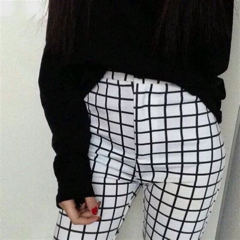 pattern pants tumblr pants grid pants pale sweater white high waisted