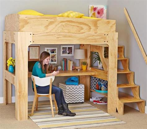 Loft Bed With Desk Plans by Loft Bed And Desk Downloadable Plan Wood Magazine