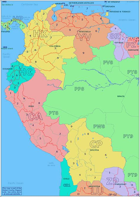 map of south western usa radio prefix map of western south america