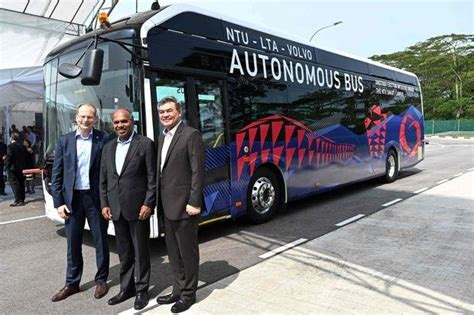 volvo unveils driverless electric bus  singapore bangkok post news