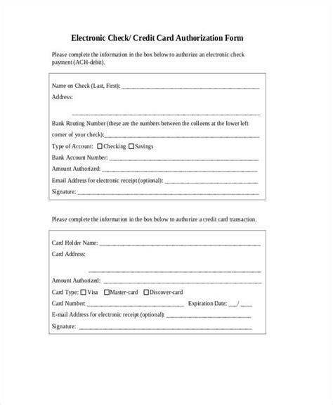 Credit Card Disclosure Template 12 Check Authorization Form Sle Free Sle Exle Format
