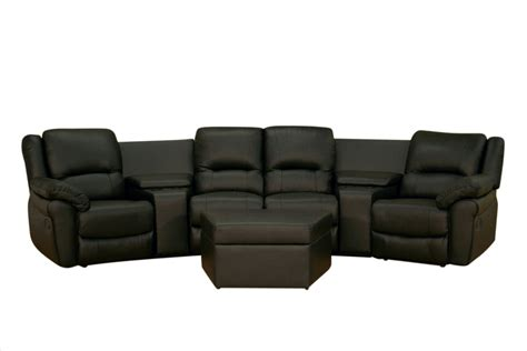 Baxton Studio Home Theater Seating Curved Row Of 4 In Black Theater Seating