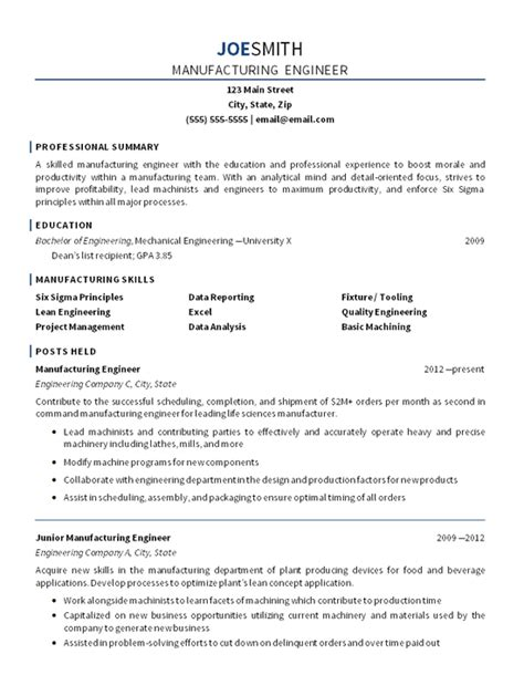 resume sles for production engineer manufacturing engineer resume exle mechanical engineering